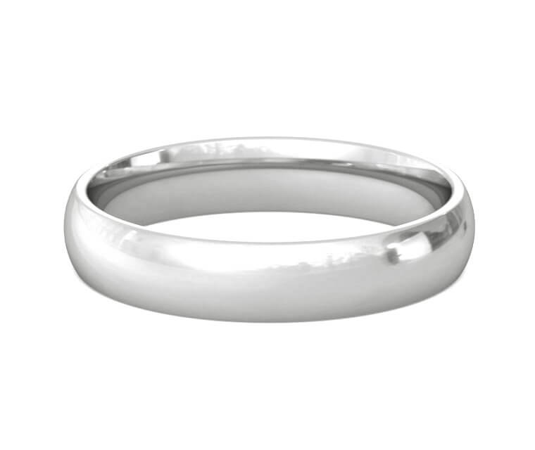 Palladium Domed, Comfort Fit Ring - 4mm