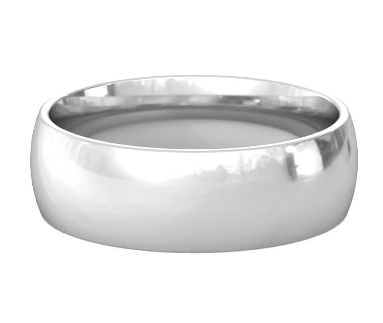 Palladium Domed, Comfort Fit Ring - 7mm