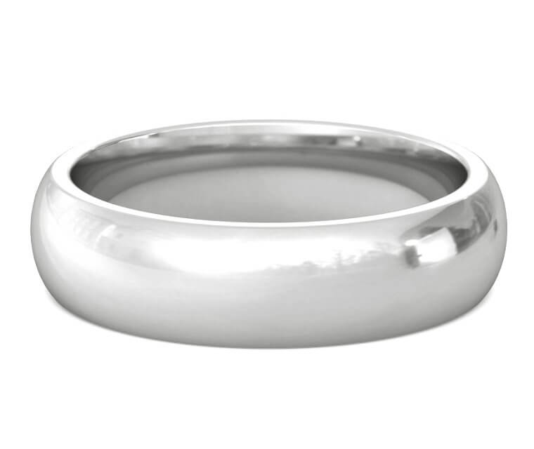 Palladium Heavy, Domed, Comfort Fit Ring - 6mm