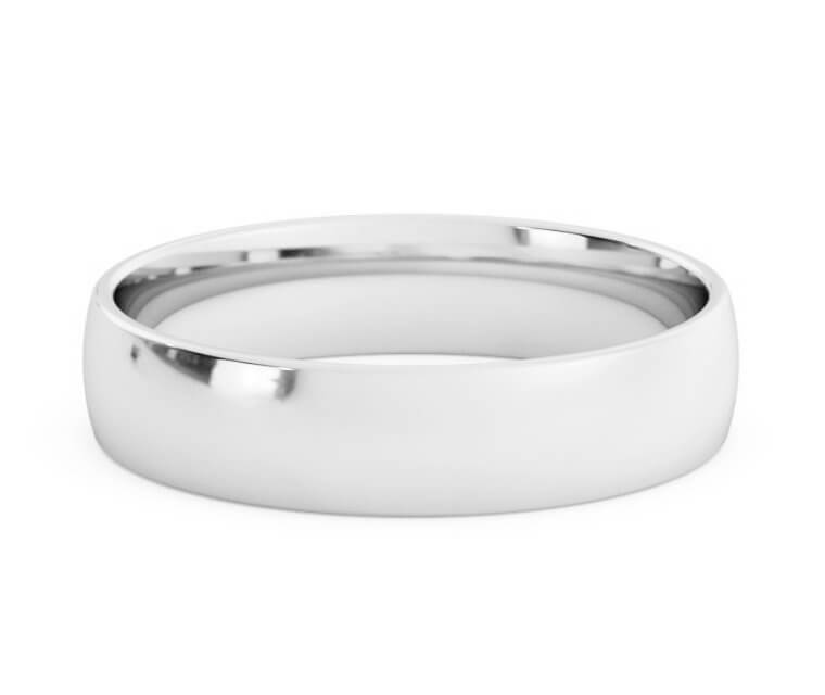 Platinum Low Dome, Comfort Fit Ring - 4.5mm