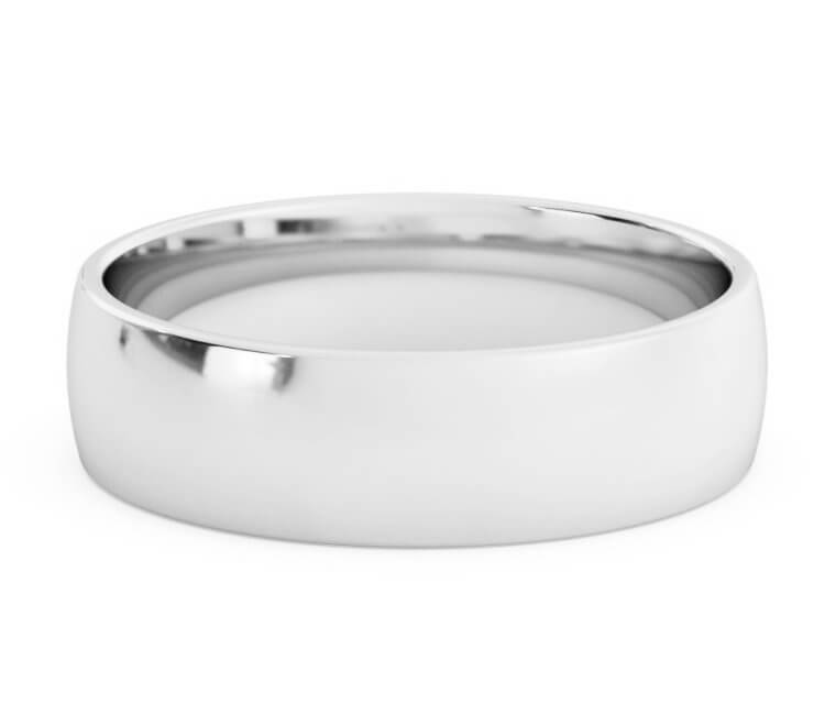 Platinum Low Dome, Comfort Fit Ring - 5.5mm