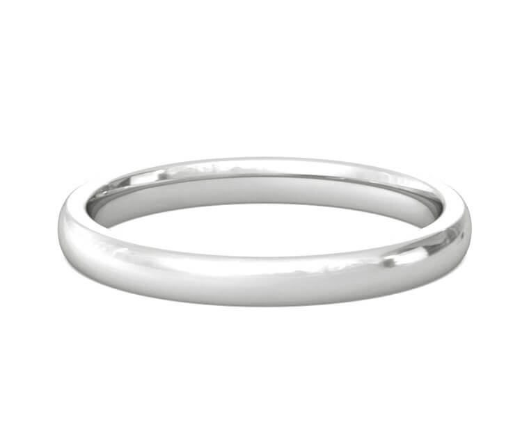 Platinum Heavy, Domed, Comfort Fit Ring - 2.5mm