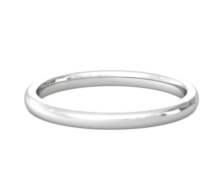 Platinum Heavy, Domed, Comfort Fit Ring - 2mm