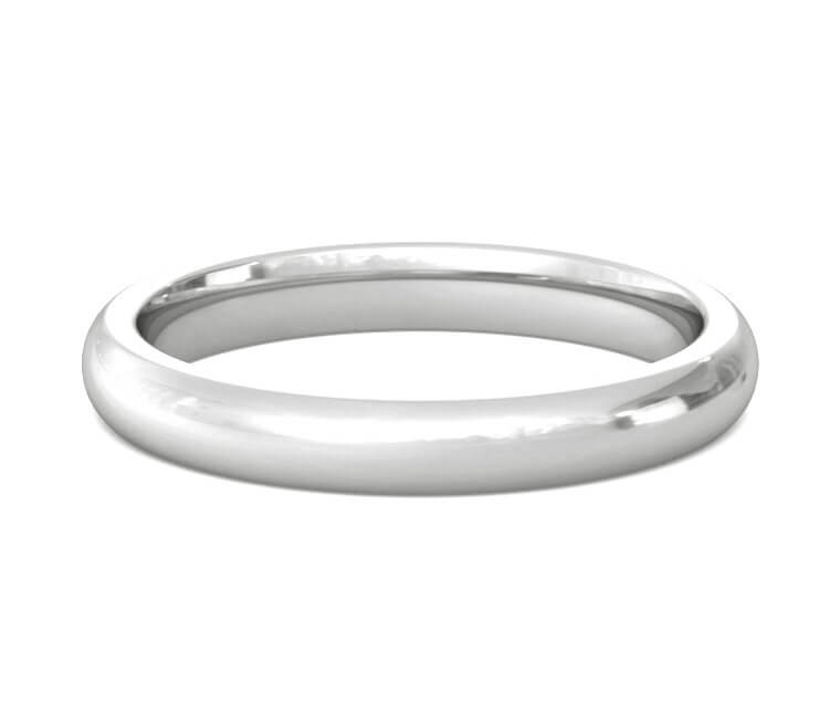 Platinum Heavy, Domed, Comfort Fit Ring - 3mm