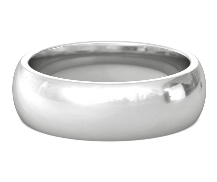 Platinum Heavy, Domed, Comfort Fit Ring - 7mm