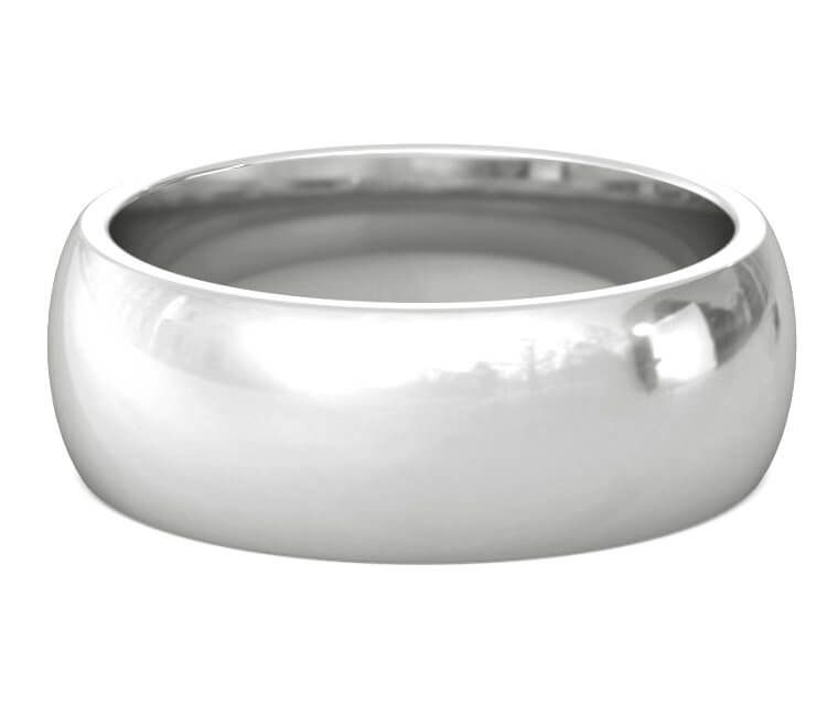 Platinum Heavy, Domed, Comfort Fit Ring - 8mm