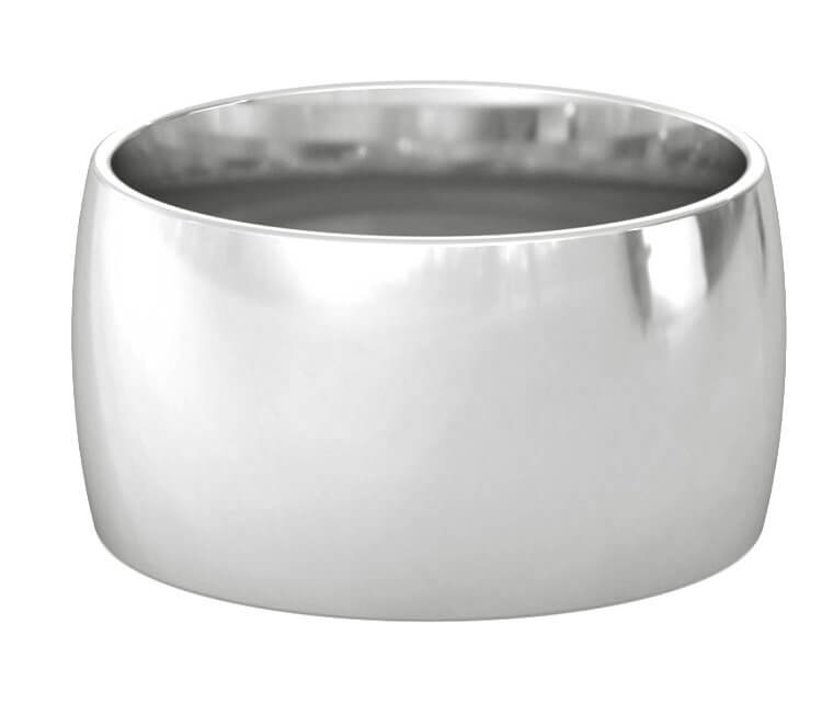 Platinum Domed, Comfort Fit Ring - 12mm