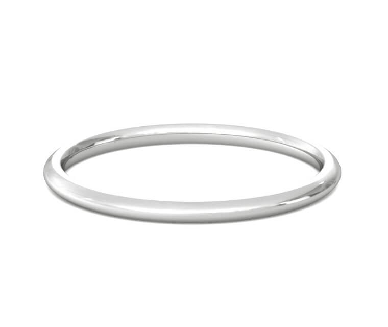 Platinum Domed, Comfort Fit Ring - 1.5mm