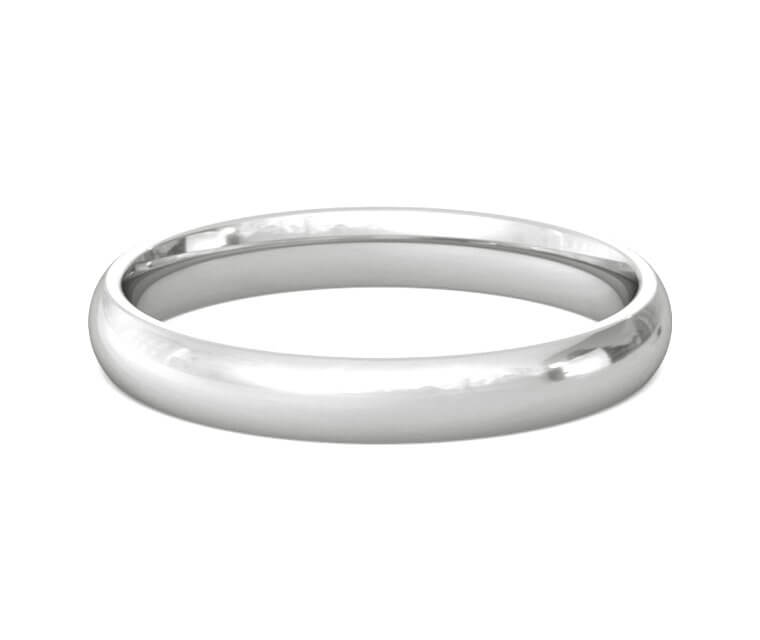 Platinum Domed, Comfort Fit Ring - 3mm