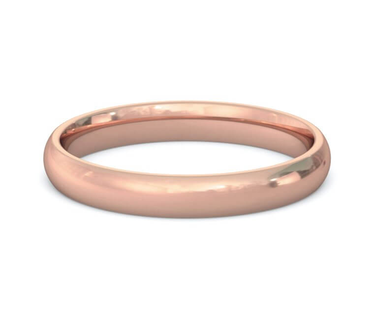 10K Rose Gold Domed, Comfort Fit Ring - 3mm