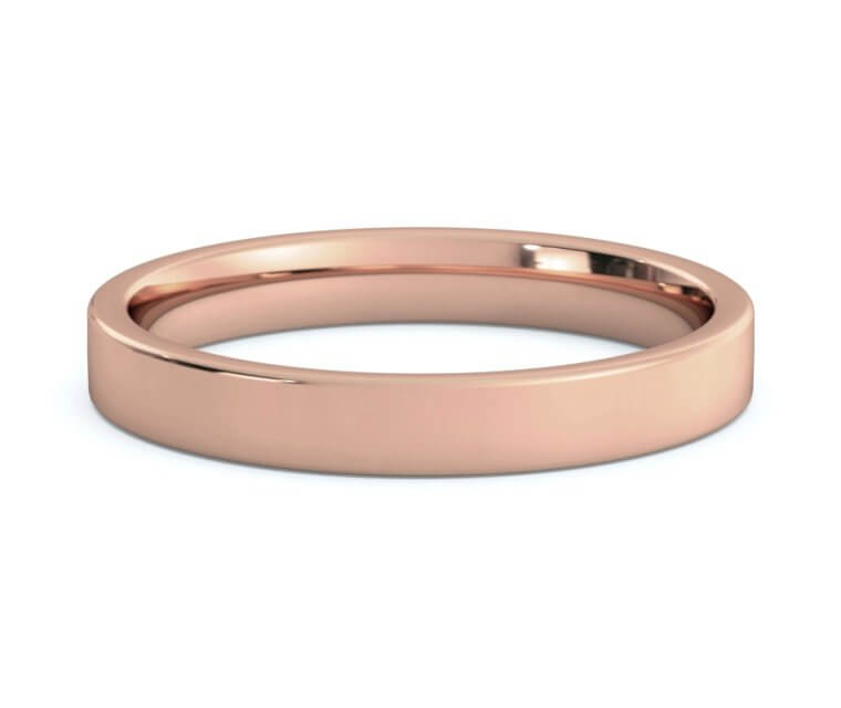 10K Rose Gold Flat, Comfort Fit Ring - 3mm