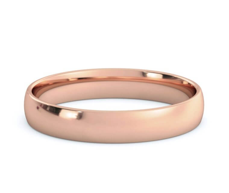 14K Rose Gold Low Dome, Comfort Fit Ring - 3.5mm