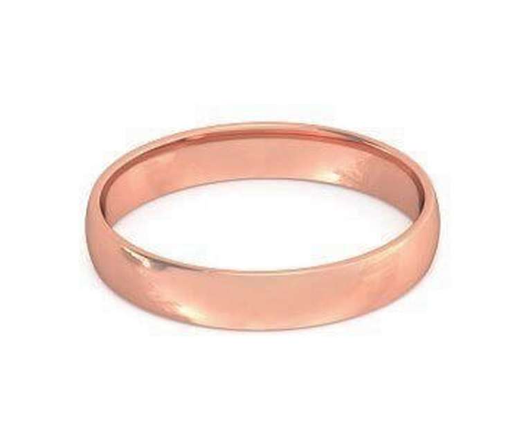 18K Rose Gold Low Dome, Comfort Fit Ring - 3.5mm