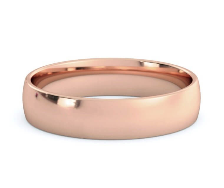 10K Rose Gold Low Dome, Comfort Fit Ring - 4.5mm