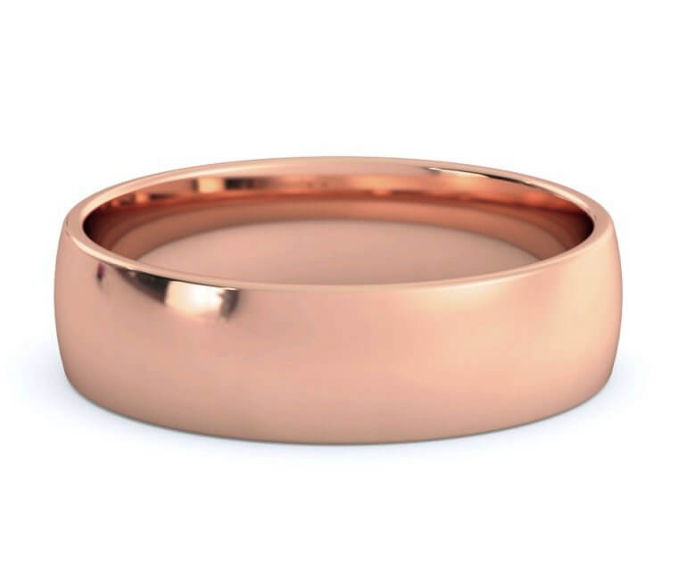 18K Rose Gold Low Dome, Comfort Fit Ring - 5.5mm