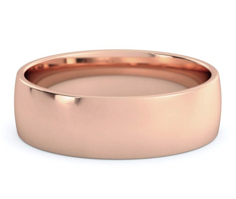 10K Rose Gold Low Dome, Comfort Fit Ring - 6.5mm