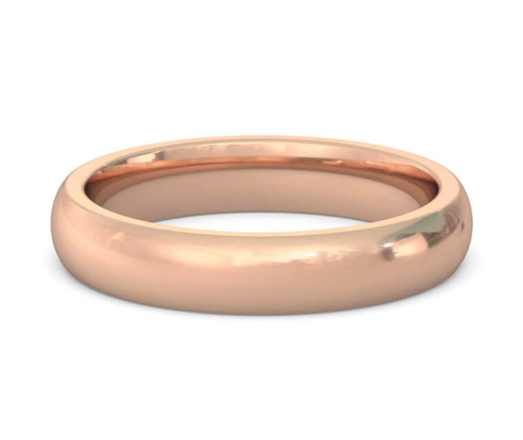 14K Rose Gold Heavy, Domed, Comfort Fit Ring - 4mm