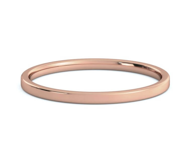 14K Rose Gold Flat, Comfort Fit Ring - 1.5mm