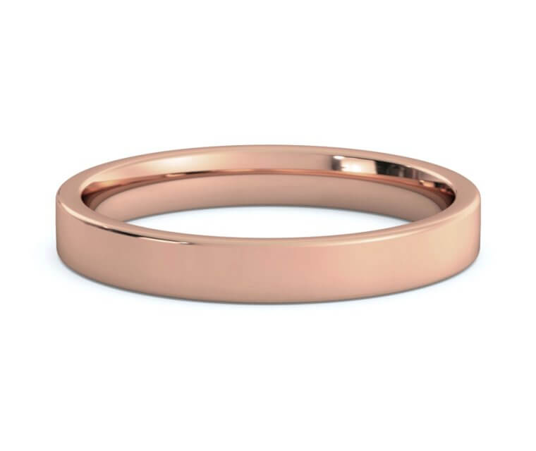 14K Rose Gold Flat, Comfort Fit Ring Ring - 3mm