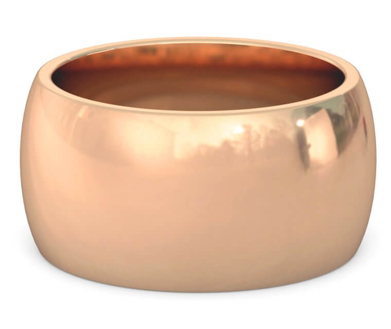 18K Rose Gold Heavy, Domed, Comfort Fit Ring - 12mm