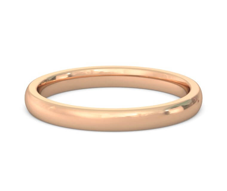 18K Rose Gold Heavy, Domed, Comfort Fit Ring - 2.5mm