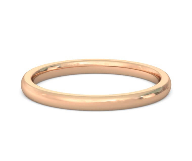 18K Rose Gold Heavy, Domed, Comfort Fit Ring - 2mm