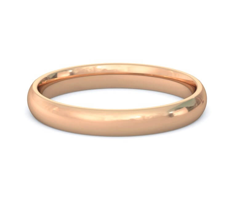 18K Rose Gold Domed, Comfort Fit Ring - 3mm