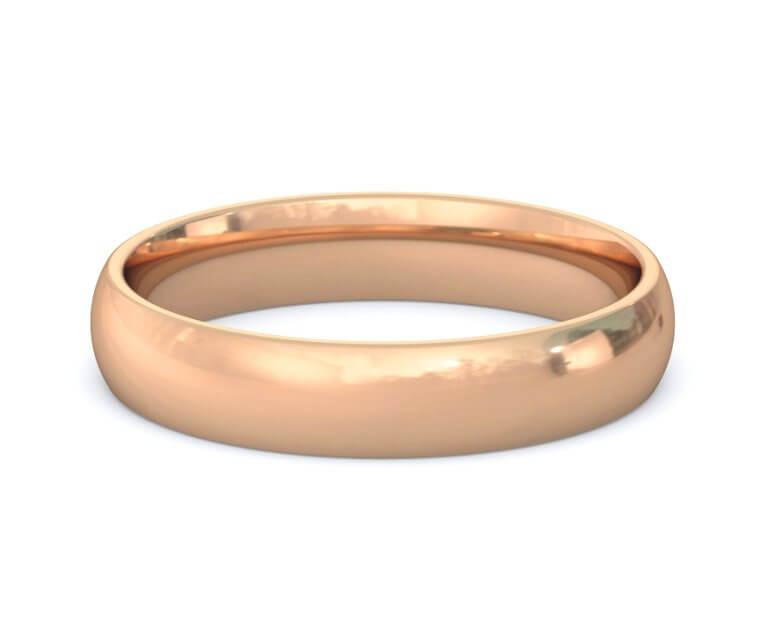 18K Rose Gold Domed, Comfort Fit Ring - 4mm