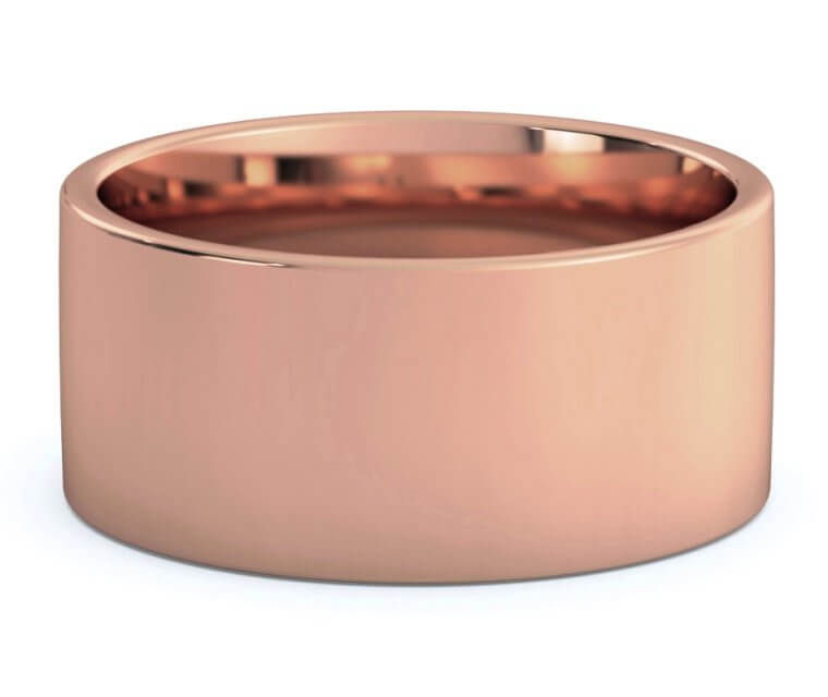 18K Rose Gold Flat, Comfort Fit Ring - 10mm
