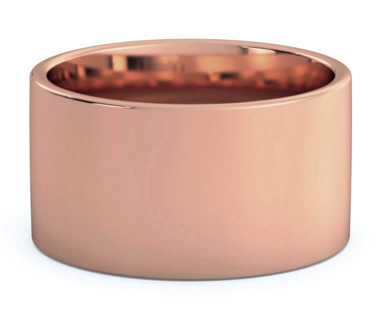 18K Rose Gold Flat, Comfort Fit Ring - 12mm