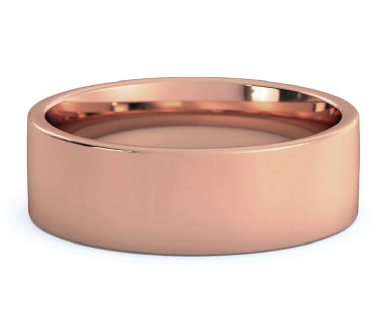 18K Rose Gold Flat, Comfort Fit Ring - 7mm