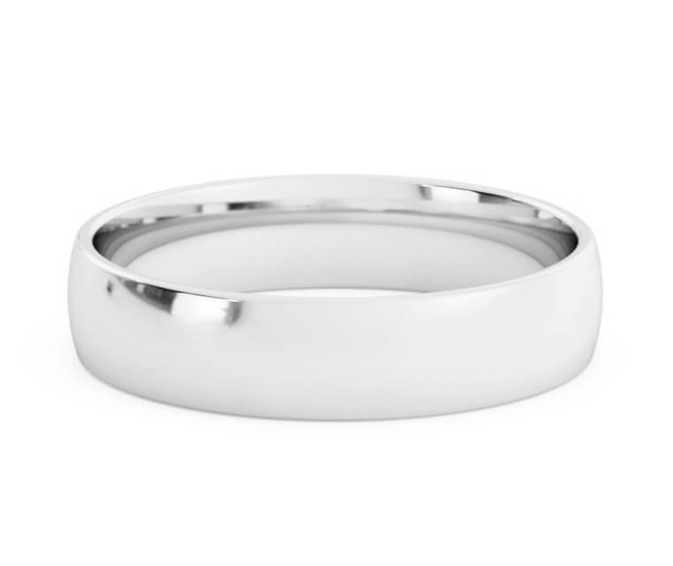 Silver Low Dome, Comfort Fit Ring - 4.5mm