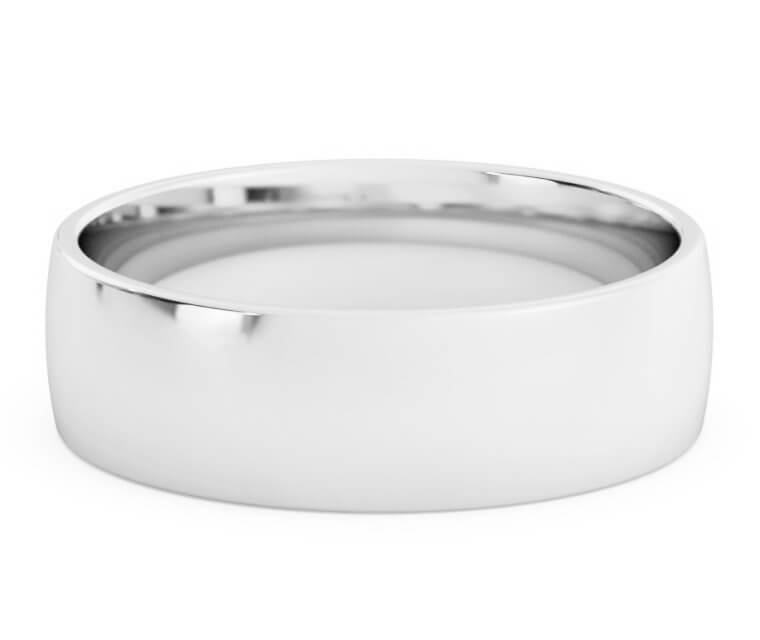Silver Low Dome, Comfort Fit Ring - 6.5mm