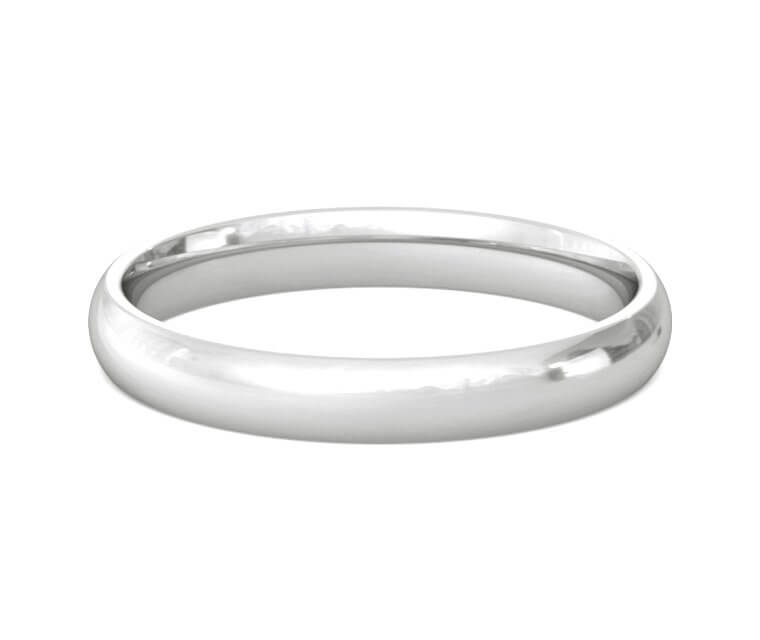 Silver Domed, Comfort Fit Ring - 3mm