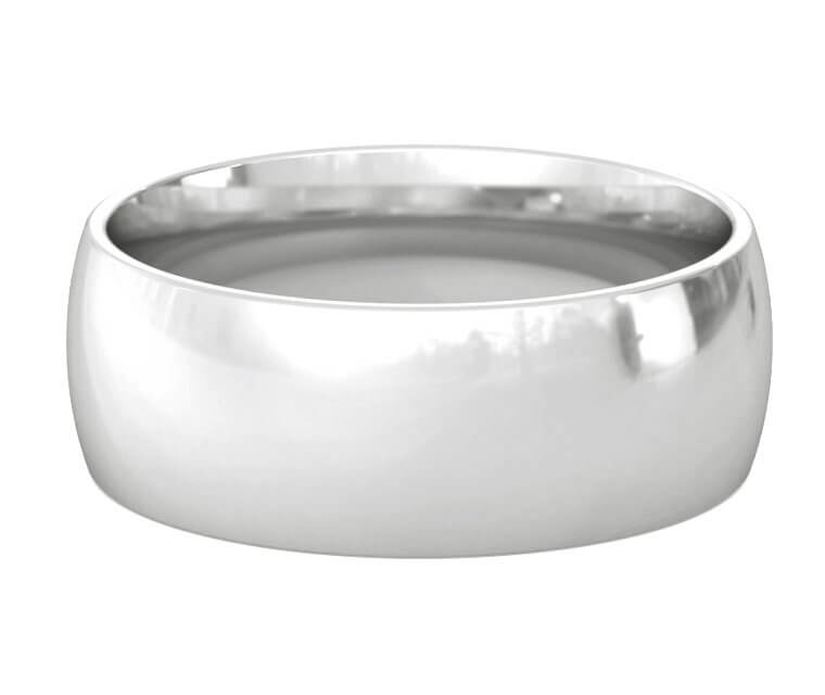 Silver Domed, Comfort Fit Ring - 8mm