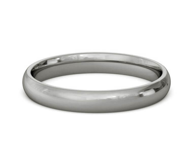Titanium Domed, Comfort Fit Ring - 3mm