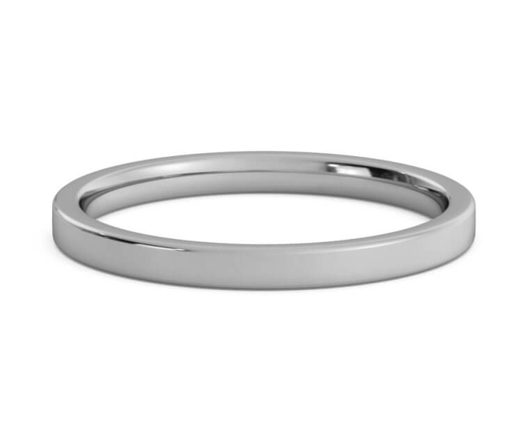 Titanium Flat, Comfort Fit Ring - 2mm