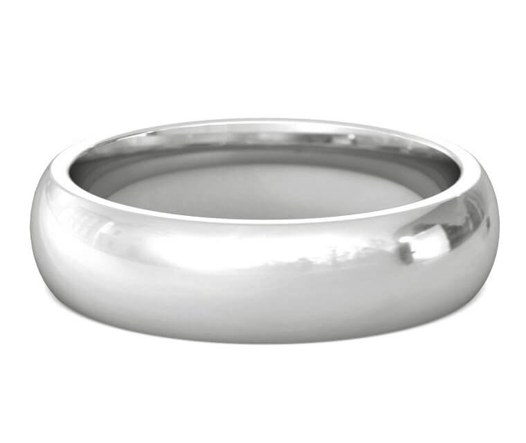 10K White Gold Heavy, Domed, Comfort Fit Ring - 6mm