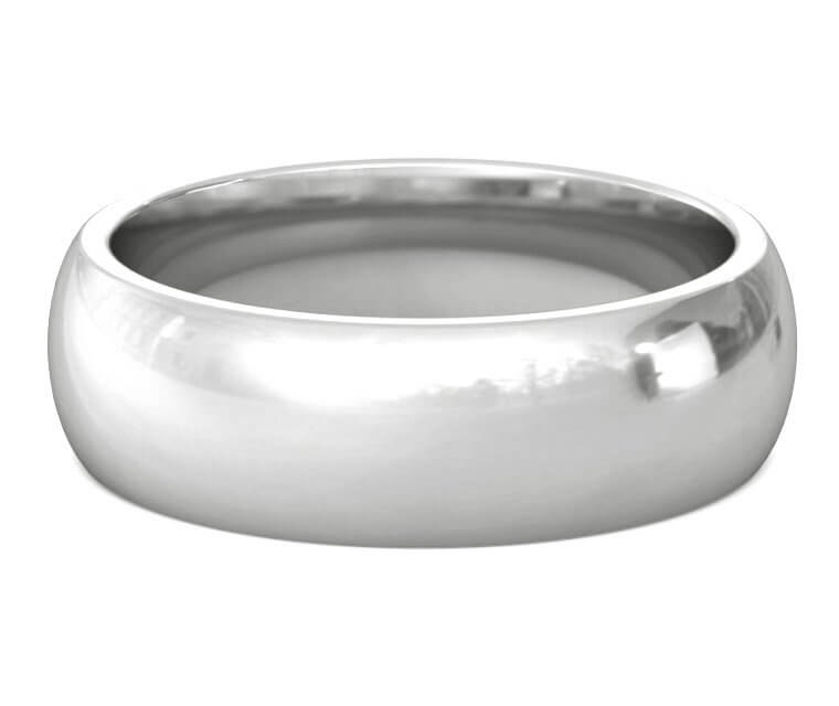 10K White Gold Heavy, Domed, Comfort Fit Ring - 7mm