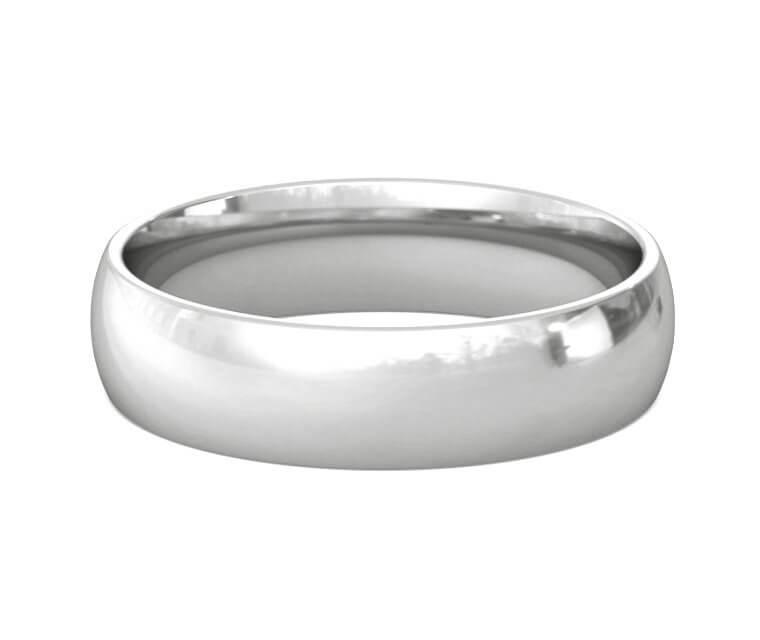 10K White Gold Domed, Comfort Fit Ring - 5mm