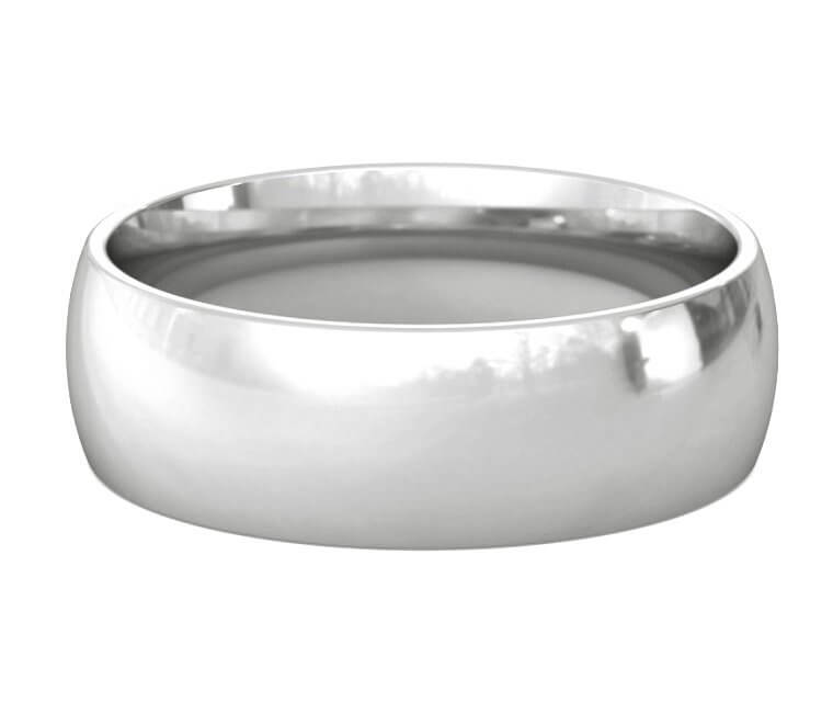 10K White Gold Domed, Comfort Fit Ring - 7mm