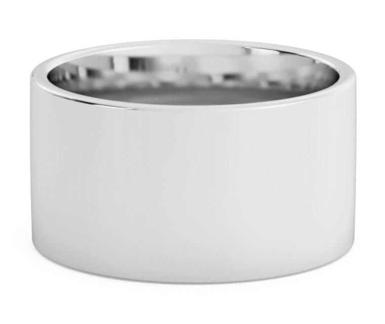 10K White Gold Flat, Comfort Fit Ring - 12mm