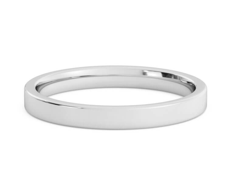 10K White Gold Flat, Comfort Fit Ring - 2.5mm
