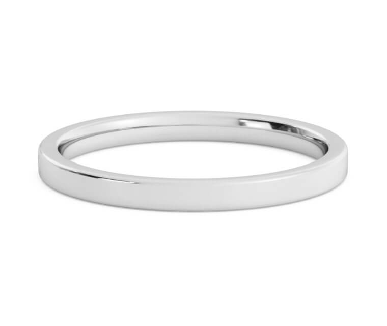 10K White Gold Flat, Comfort Fit Ring - 2mm