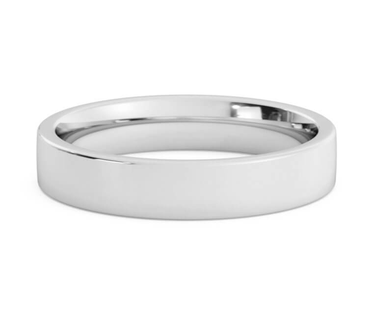 10K White Gold Flat, Comfort Fit Ring - 4mm
