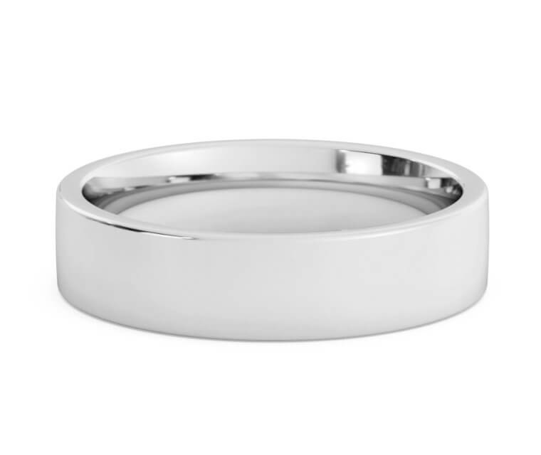 10K White Gold Flat, Comfort Fit Ring - 5mm