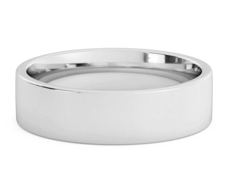 10K White Gold Flat, Comfort Fit Ring - 6mm