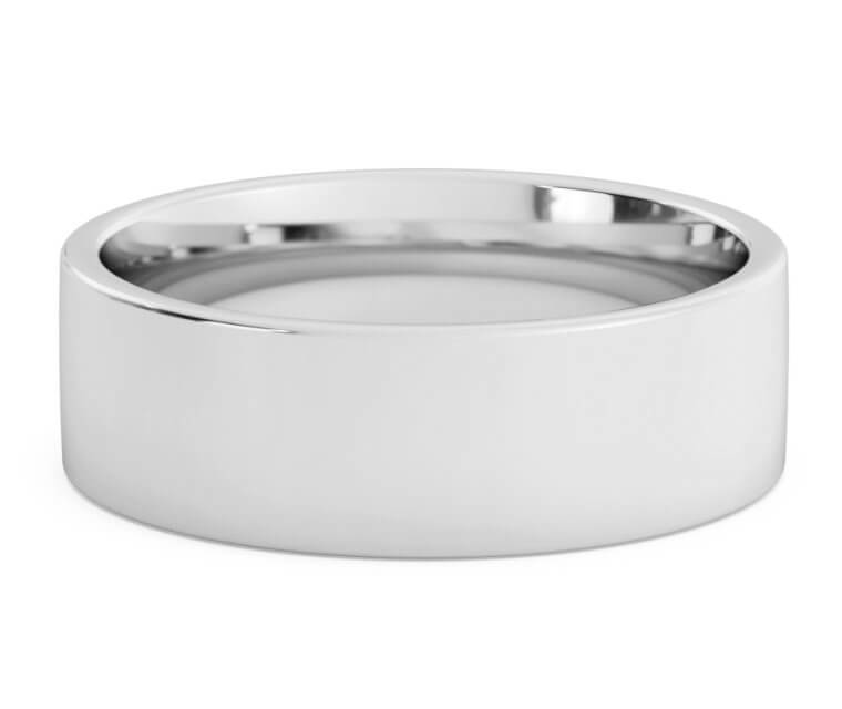 10K White Gold Flat, Comfort Fit Ring - 7mm
