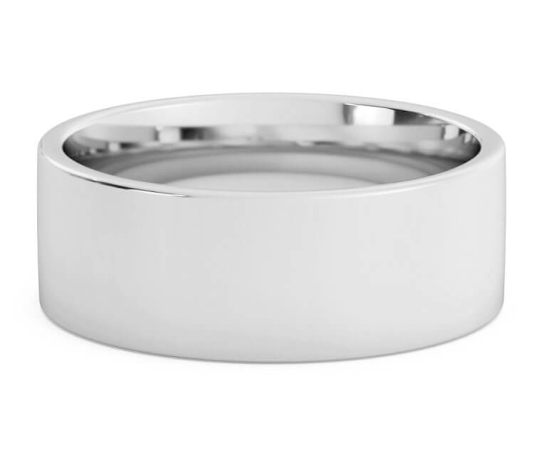 10K White Gold Flat, Comfort Fit Ring - 8mm