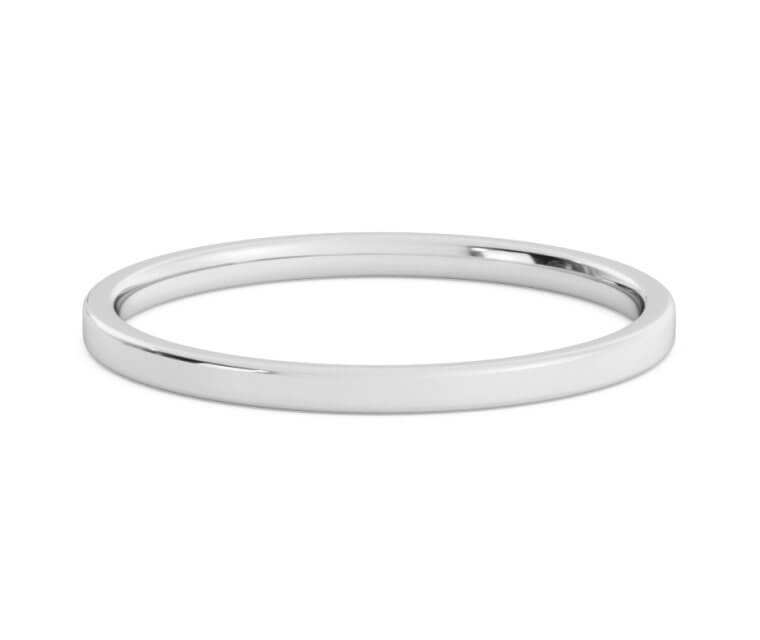 10K White Gold Flat, Comfort Fit Rings Ring - 1.5mm